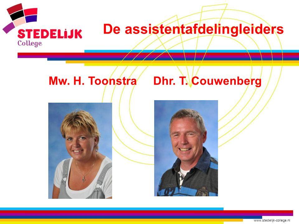 www.stedelijk-college.nl Mw. H. Toonstra Dhr. T. Couwenberg De assistentafdelingleiders