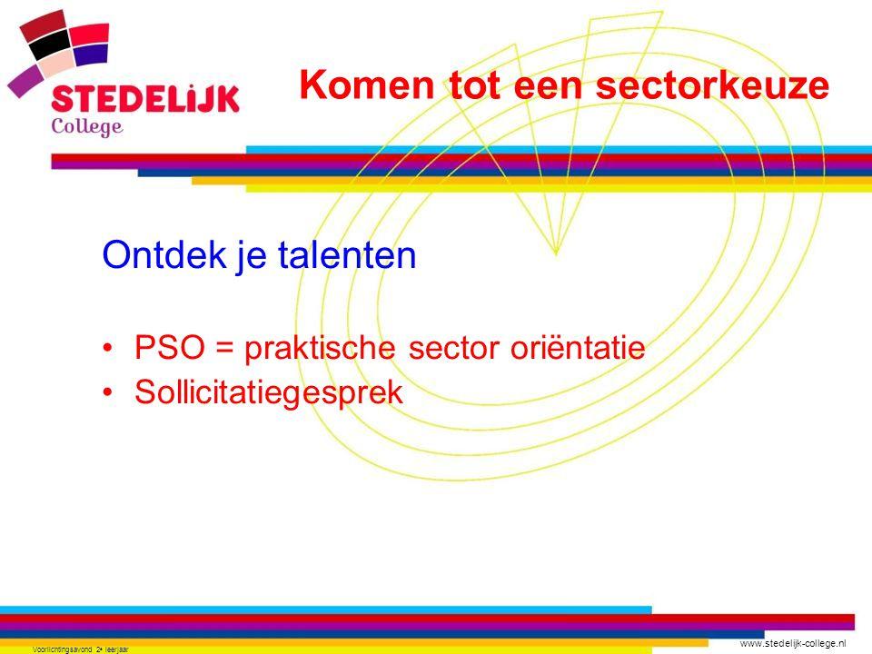 www.stedelijk-college.nl Voorlichtingsavond 2 e leerjaar Ontdek je talenten PSO = praktische sector oriëntatie Sollicitatiegesprek Komen tot een secto