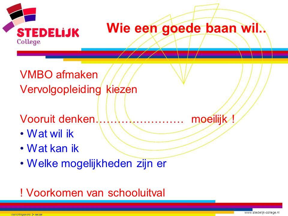 www.stedelijk-college.nl Voorlichtingsavond 2 e leerjaar VMBO afmaken Vervolgopleiding kiezen Vooruit denken…………………… moeilijk ! Wat wil ik Wat kan ik
