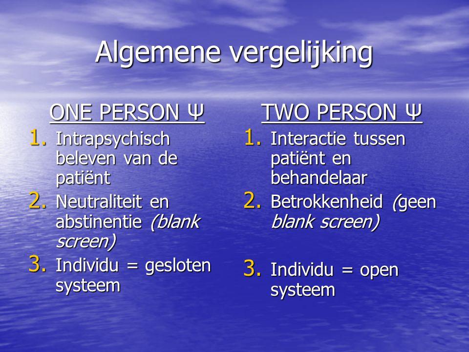 Algemene vergelijking ONE PERSON Ψ 1.Intrapsychisch beleven van de patiënt 2.