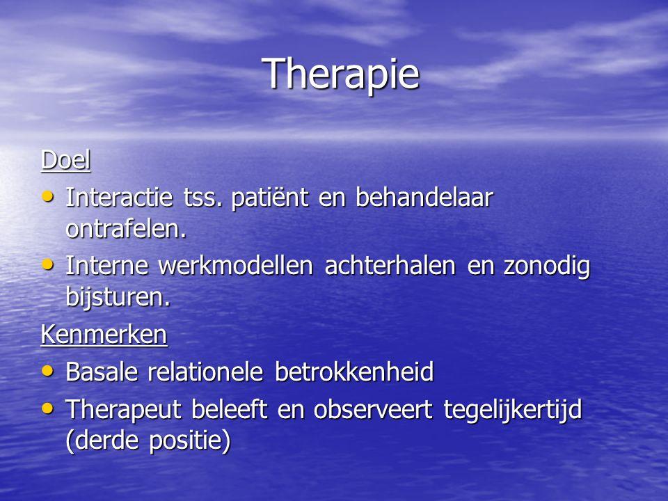 Therapie Therapie Doel Interactie tss.patiënt en behandelaar ontrafelen.