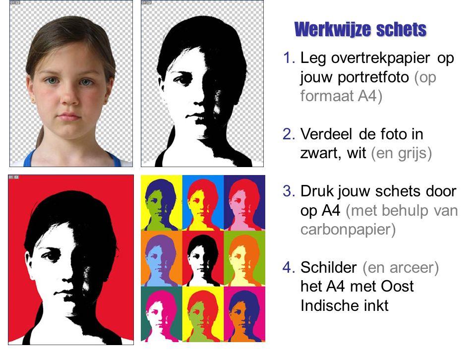 1.Leg overtrekpapier op jouw portretfoto (op formaat A4) 2.Verdeel de foto in zwart, wit (en grijs) 3.Druk jouw schets door op A4 (met behulp van carb