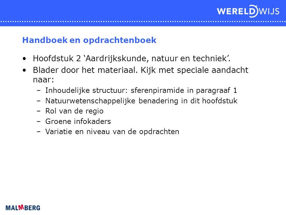 Handboek en opdrachtenboek Hoofdstuk 2 'Aardrijkskunde, natuur en techniek'. Blader door het materiaal. Kijk met speciale aandacht naar: –Inhoudelijke