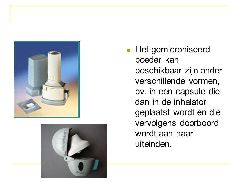 Het gemicroniseerd poeder kan beschikbaar zijn onder verschillende vormen, bv. in een capsule die dan in de inhalator geplaatst wordt en die vervolgen