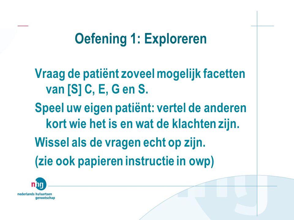 Oefening 1: Exploreren Vraag de patiënt zoveel mogelijk facetten van [S] C, E, G en S. Speel uw eigen patiënt: vertel de anderen kort wie het is en wa
