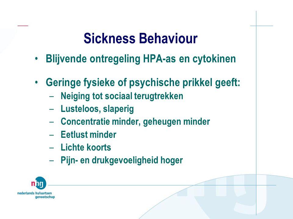 Sickness Behaviour Blijvende ontregeling HPA-as en cytokinen Geringe fysieke of psychische prikkel geeft: – Neiging tot sociaal terugtrekken – Lustelo