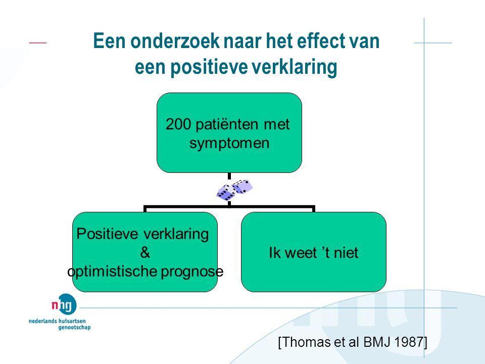 Een onderzoek naar het effect van een positieve verklaring [Thomas et al BMJ 1987]