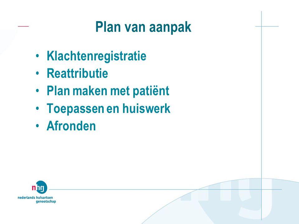 Plan van aanpak Klachtenregistratie Reattributie Plan maken met patiënt Toepassen en huiswerk Afronden