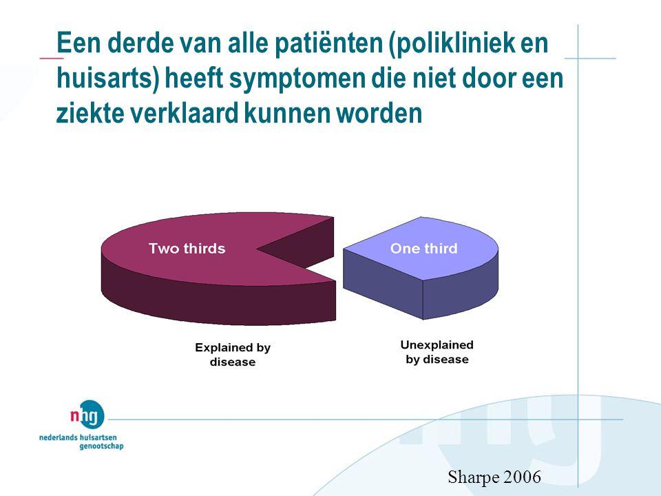Een derde van alle patiënten (polikliniek en huisarts) heeft symptomen die niet door een ziekte verklaard kunnen worden Sharpe 2006