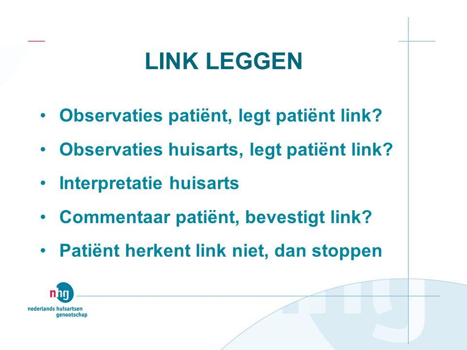 LINK LEGGEN Observaties patiënt, legt patiënt link? Observaties huisarts, legt patiënt link? Interpretatie huisarts Commentaar patiënt, bevestigt link