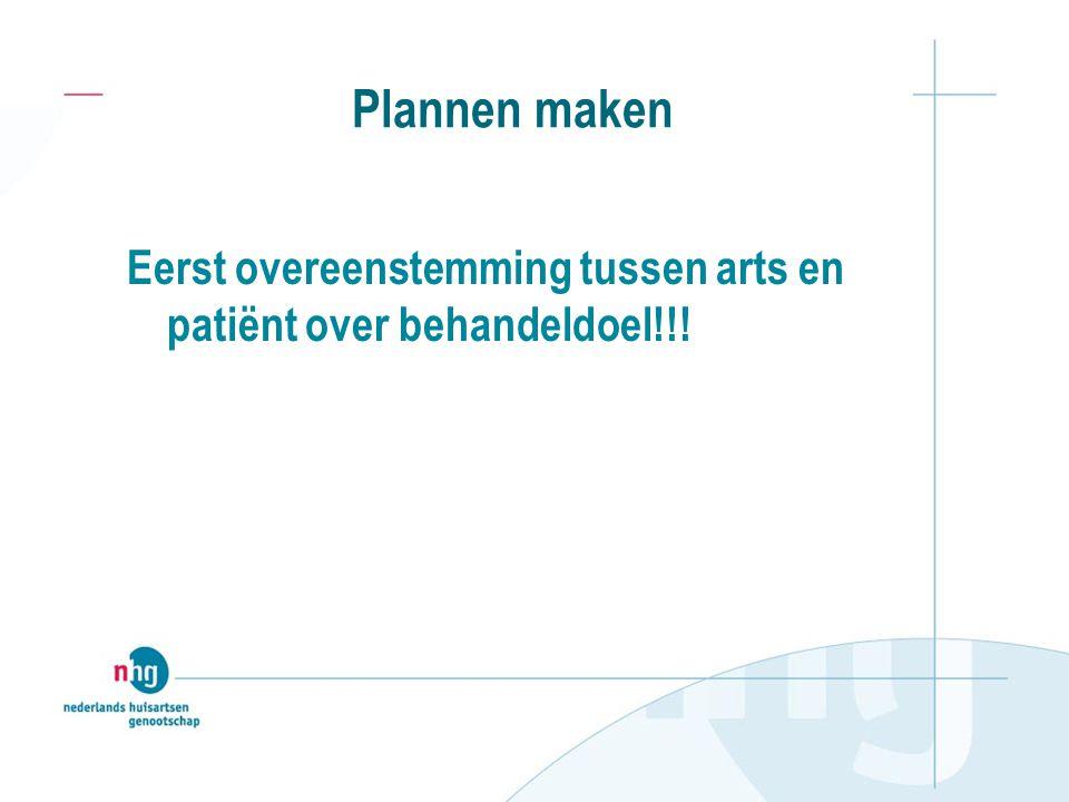 Plannen maken Eerst overeenstemming tussen arts en patiënt over behandeldoel!!!