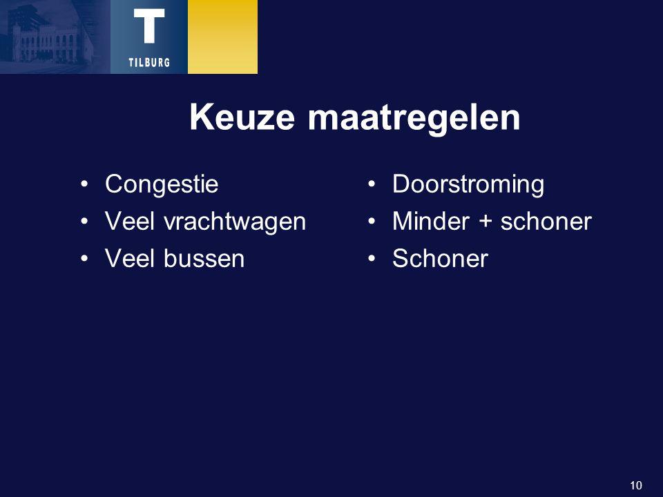 10 Keuze maatregelen Congestie Veel vrachtwagen Veel bussen Doorstroming Minder + schoner Schoner