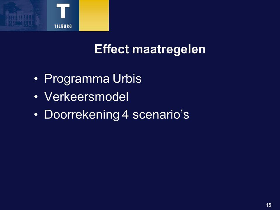 15 Effect maatregelen Programma Urbis Verkeersmodel Doorrekening 4 scenario's
