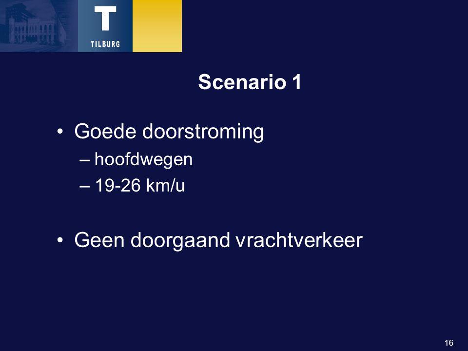 16 Scenario 1 Goede doorstroming –hoofdwegen –19-26 km/u Geen doorgaand vrachtverkeer