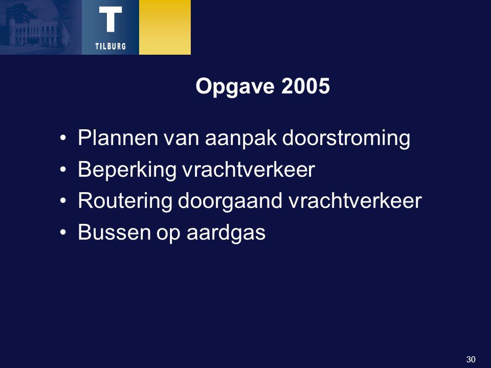 30 Opgave 2005 Plannen van aanpak doorstroming Beperking vrachtverkeer Routering doorgaand vrachtverkeer Bussen op aardgas
