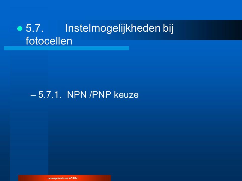 samengesteld door WVDM 5.7.Instelmogelijkheden bij fotocellen –5.7.1.NPN /PNP keuze