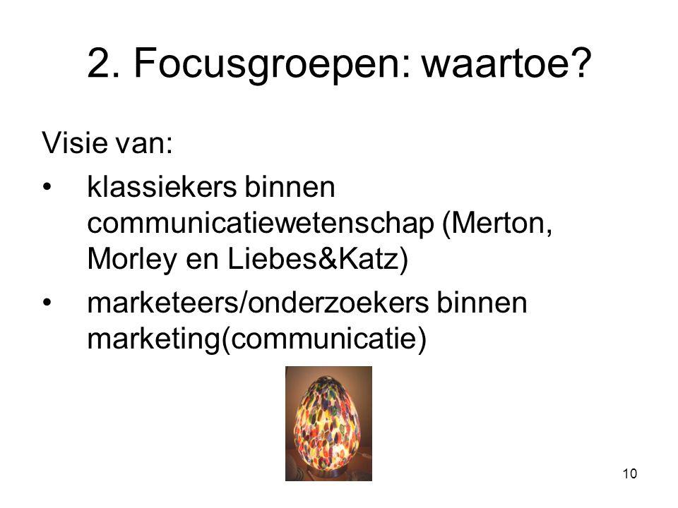 10 2. Focusgroepen: waartoe.