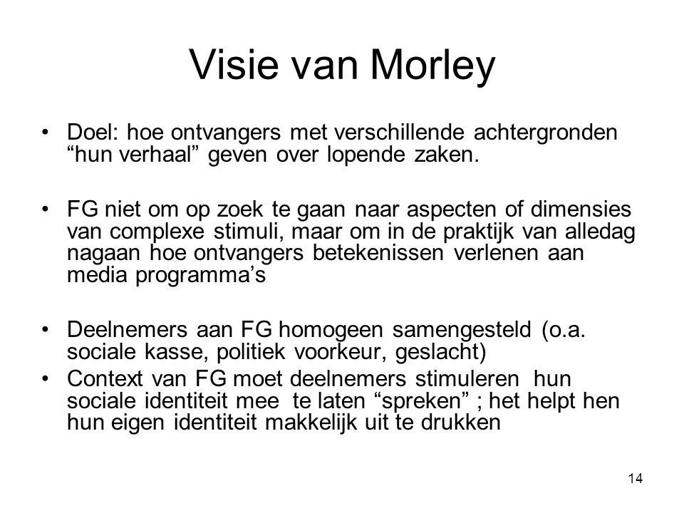 14 Visie van Morley Doel: hoe ontvangers met verschillende achtergronden hun verhaal geven over lopende zaken.