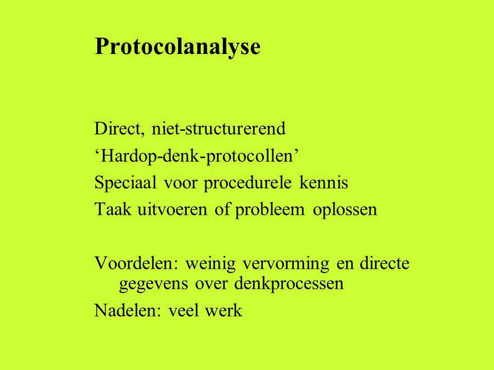 Protocolanalyse Direct, niet-structurerend 'Hardop-denk-protocollen' Speciaal voor procedurele kennis Taak uitvoeren of probleem oplossen Voordelen: w