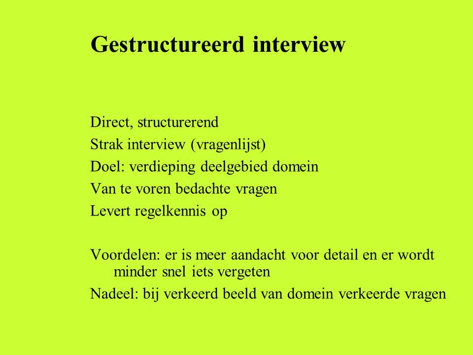 Gestructureerd interview Direct, structurerend Strak interview (vragenlijst) Doel: verdieping deelgebied domein Van te voren bedachte vragen Levert re