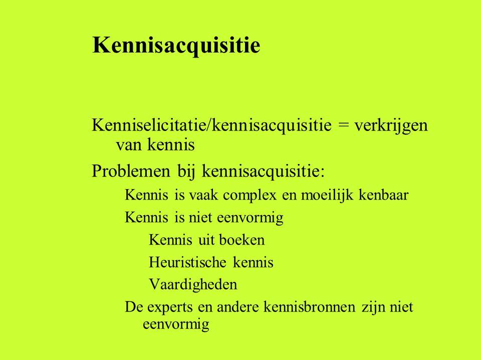 Kennisacquisitie Doel: verzamelen van de kennis die nodig is om een probleem op te lossen en te implementeren De kennis kan declaratief zijn (knowing that, feiten) of procedureel (knowing how, acties)