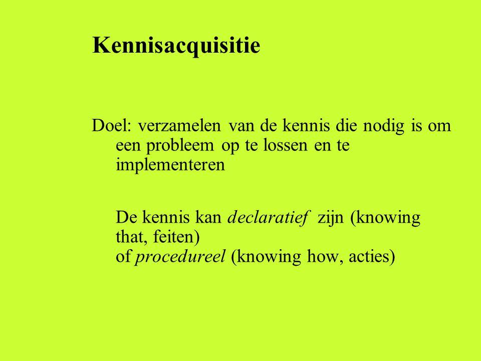 Kennisacquisitie Doel: verzamelen van de kennis die nodig is om een probleem op te lossen en te implementeren De kennis kan declaratief zijn (knowing