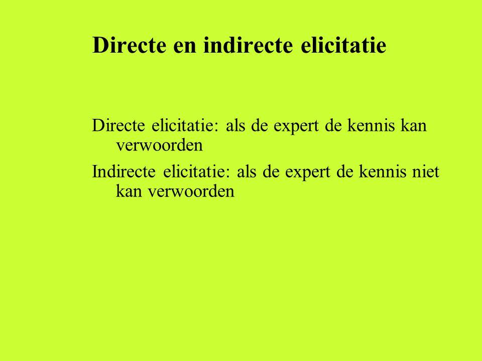 Directe en indirecte elicitatie Directe elicitatie: als de expert de kennis kan verwoorden Indirecte elicitatie: als de expert de kennis niet kan verw
