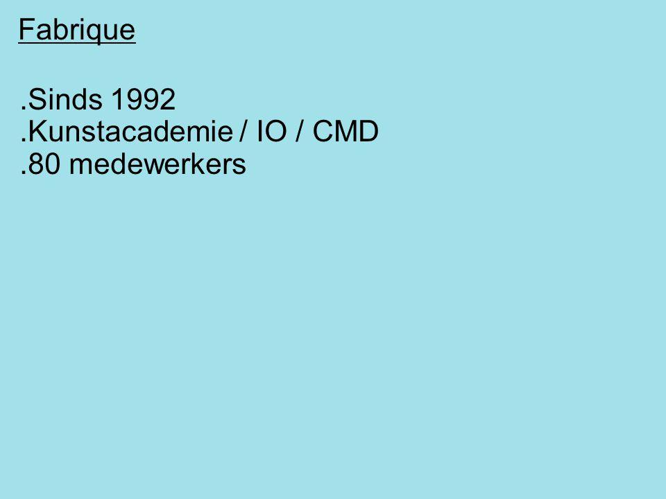 Fabrique.Sinds 1992.Kunstacademie / IO / CMD.80 medewerkers