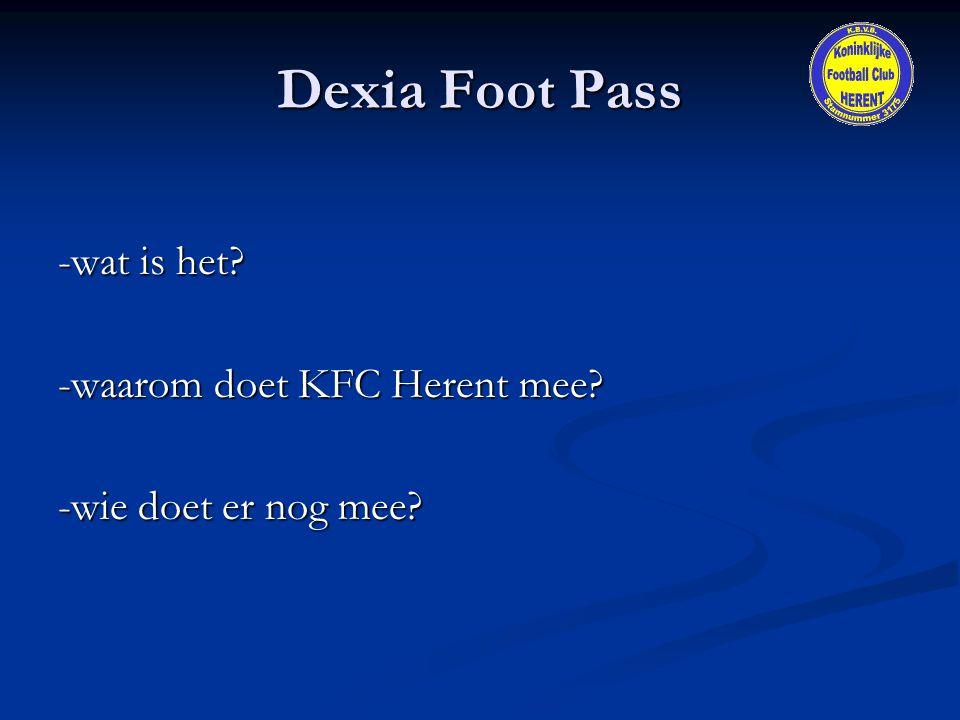 Dexia Foot Pass -wat is het? -waarom doet KFC Herent mee? -wie doet er nog mee?