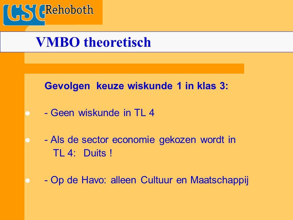 Gevolgen keuze wiskunde 1 in klas 3: - Geen wiskunde in TL 4 - Als de sector economie gekozen wordt in TL 4:Duits .