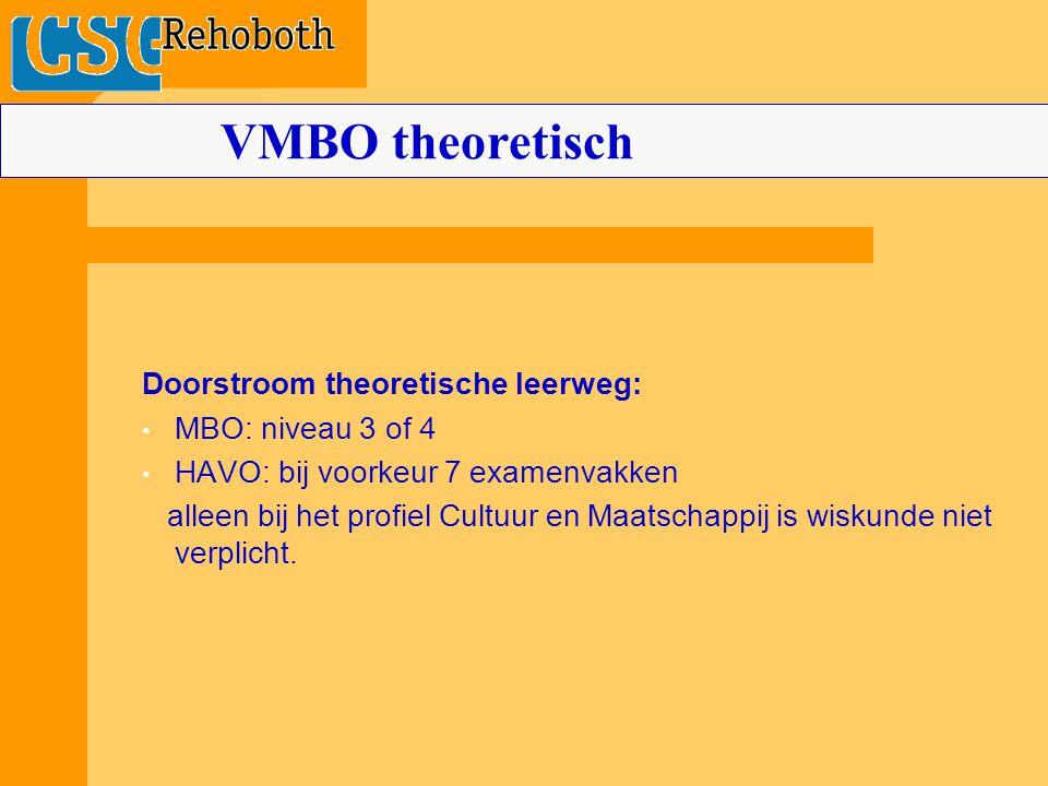 Doorstroom theoretische leerweg: MBO: niveau 3 of 4 HAVO: bij voorkeur 7 examenvakken alleen bij het profiel Cultuur en Maatschappij is wiskunde niet verplicht.