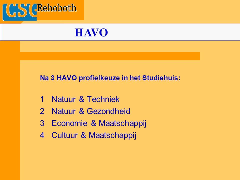 Na 3 HAVO profielkeuze in het Studiehuis: 1 Natuur & Techniek 2 Natuur & Gezondheid 3 Economie & Maatschappij 4 Cultuur & Maatschappij HAVO