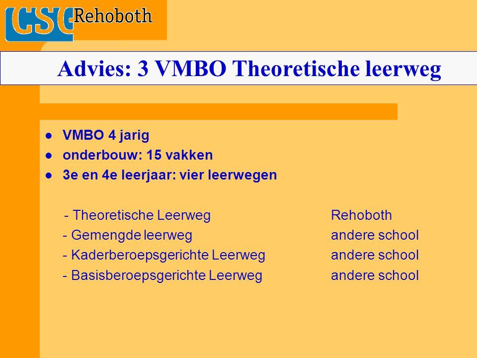 VMBO 4 jarig onderbouw: 15 vakken 3e en 4e leerjaar: vier leerwegen - Theoretische LeerwegRehoboth - Gemengde leerwegandere school - Kaderberoepsgerichte Leerwegandere school - Basisberoepsgerichte Leerwegandere school Advies: 3 VMBO Theoretische leerweg
