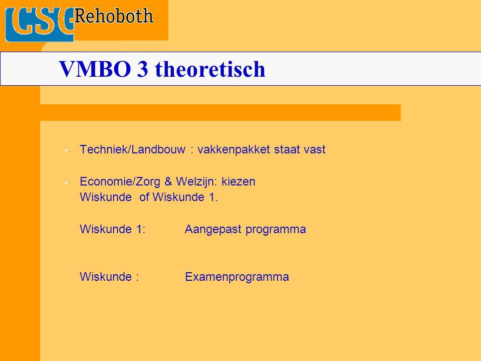 Techniek/Landbouw : vakkenpakket staat vast Economie/Zorg & Welzijn: kiezen Wiskunde of Wiskunde 1.