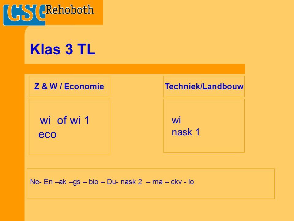 Klas 3 TL Ne- En –ak –gs – bio – Du- nask 2 – ma – ckv - lo wi of wi 1 eco wi nask 1 Z & W / Economie Techniek/Landbouw