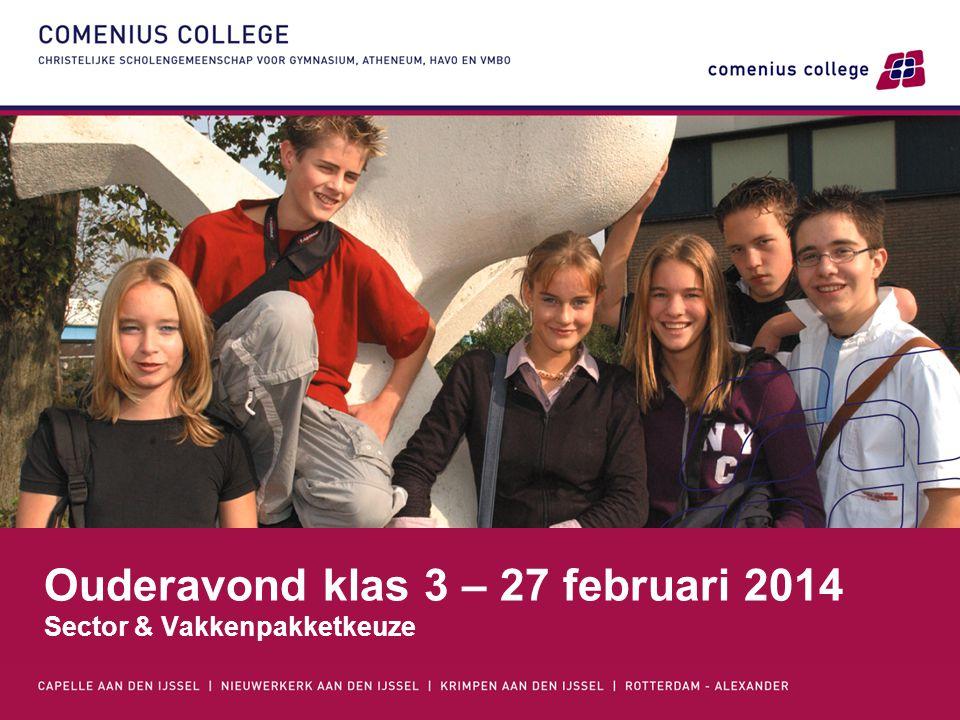 Ouderavond klas 3 – 27 februari 2014 Sector & Vakkenpakketkeuze