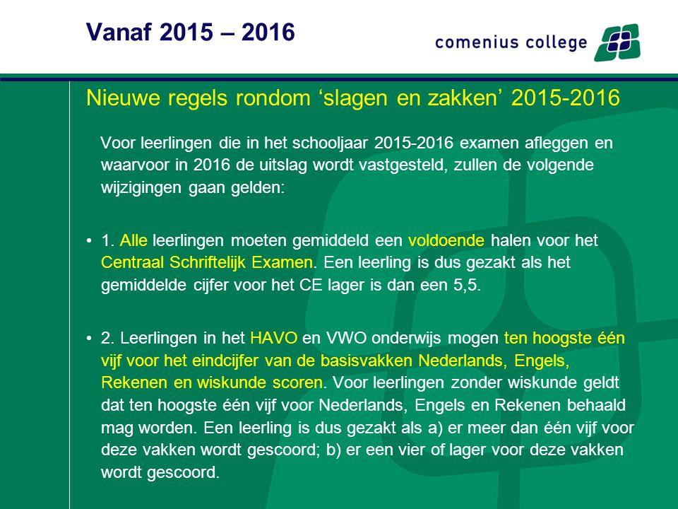 Vanaf 2015 – 2016 Nieuwe regels rondom 'slagen en zakken' 2015-2016 Voor leerlingen die in het schooljaar 2015-2016 examen afleggen en waarvoor in 201