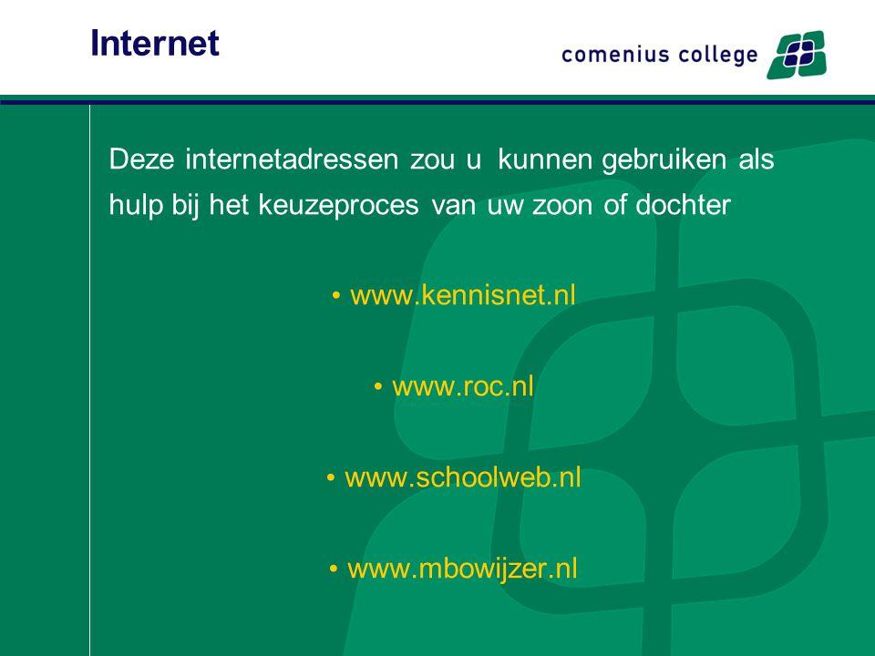 Internet Deze internetadressen zou u kunnen gebruiken als hulp bij het keuzeproces van uw zoon of dochter www.kennisnet.nl www.roc.nl www.schoolweb.nl