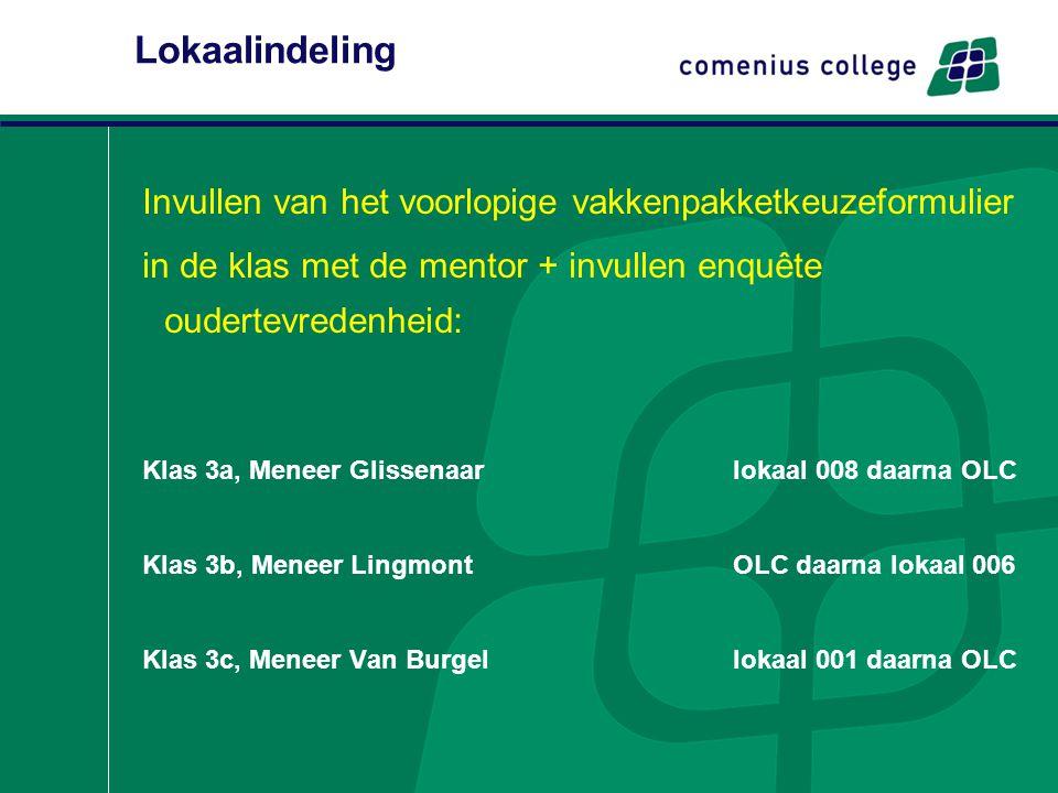 Lokaalindeling Invullen van het voorlopige vakkenpakketkeuzeformulier in de klas met de mentor + invullen enquête oudertevredenheid: Klas 3a, Meneer G