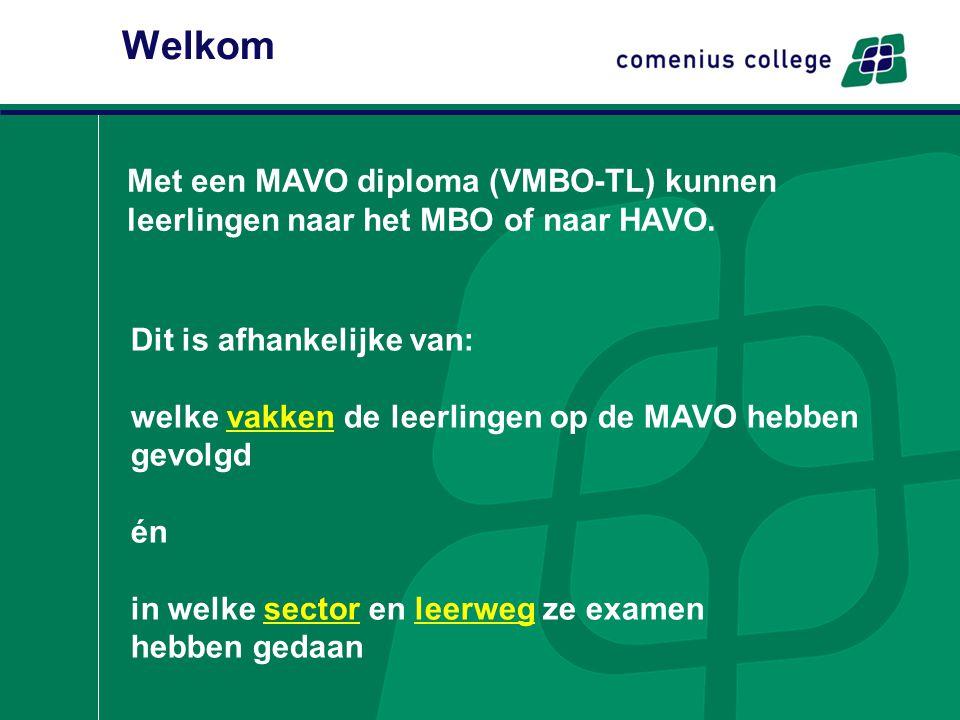Welkom Dit is afhankelijke van: welke vakken de leerlingen op de MAVO hebben gevolgd én in welke sector en leerweg ze examen hebben gedaan Met een MAV