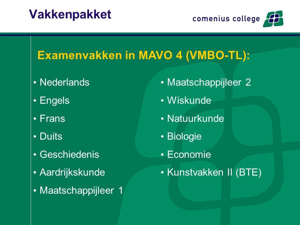 Vakkenpakket Nederlands Engels Frans Duits Geschiedenis Aardrijkskunde Maatschappijleer 1 Maatschappijleer 2 Wiskunde Natuurkunde Biologie Economie Ku