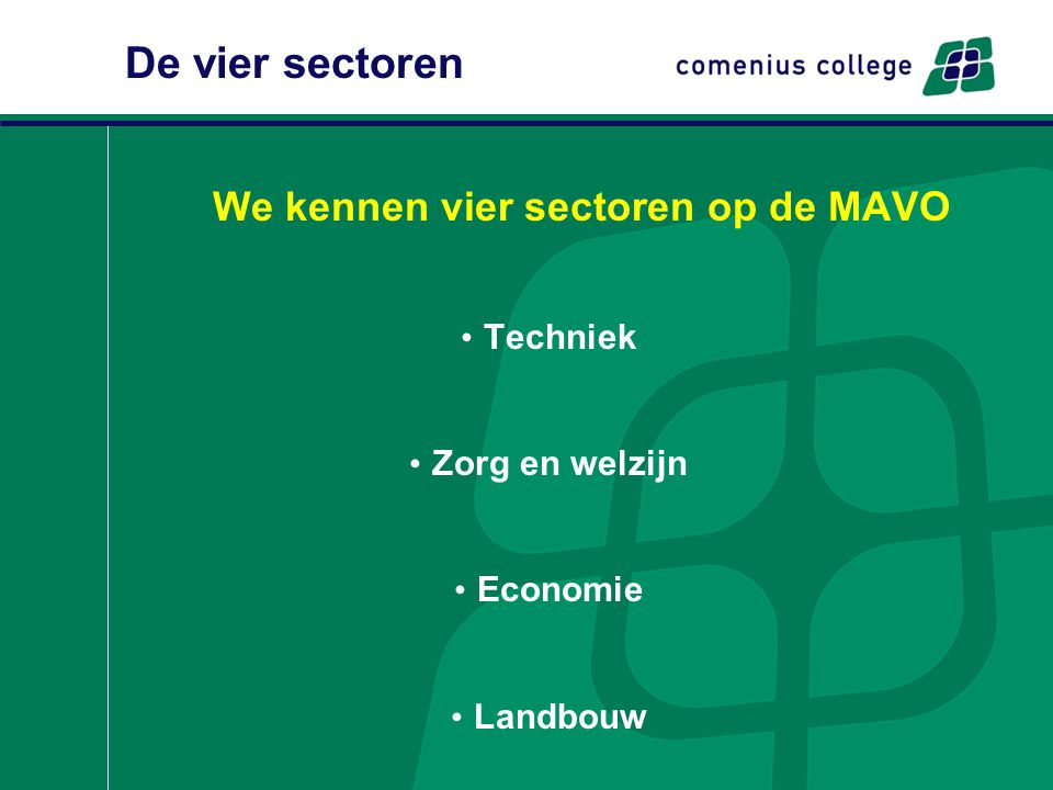 De vier sectoren We kennen vier sectoren op de MAVO Techniek Zorg en welzijn Economie Landbouw