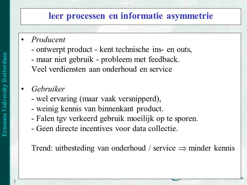 15 leer processen en informatie asymmetrie Producent - ontwerpt product - kent technische ins- en outs, - maar niet gebruik - probleem met feedback.