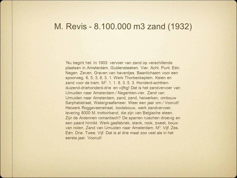 M. Revis - 8.100.000 m3 zand (1932) 'Nu begint het. In 1903: vervoer van zand op verschillende plaatsen in Amsterdam. Guldensteeken. Vier. Acht. Punt.