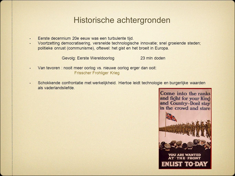 Historische achtergronden Eerste decennium 20e eeuw was een turbulente tijd. Voortzetting democratisering, versnelde technologische innovatie; snel gr