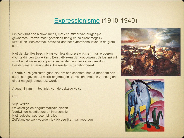 ExpressionismeExpressionisme (1910-1940) ExpressionismeExpressionisme (1910-1940) Op zoek naar de nieuwe mens, met een afkeer van burgerlijke gewoonte