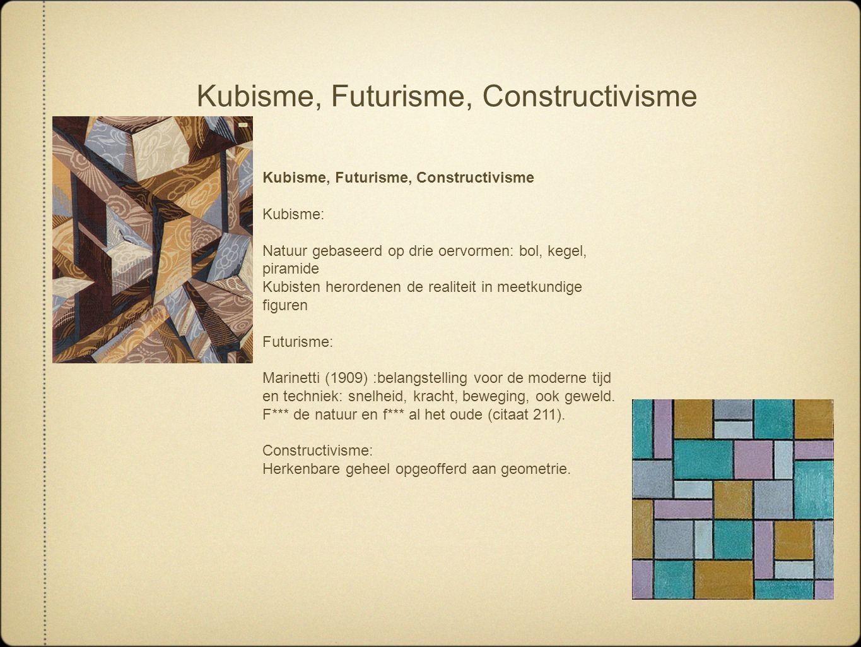 Kubisme, Futurisme, Constructivisme Kubisme: Natuur gebaseerd op drie oervormen: bol, kegel, piramide Kubisten herordenen de realiteit in meetkundige