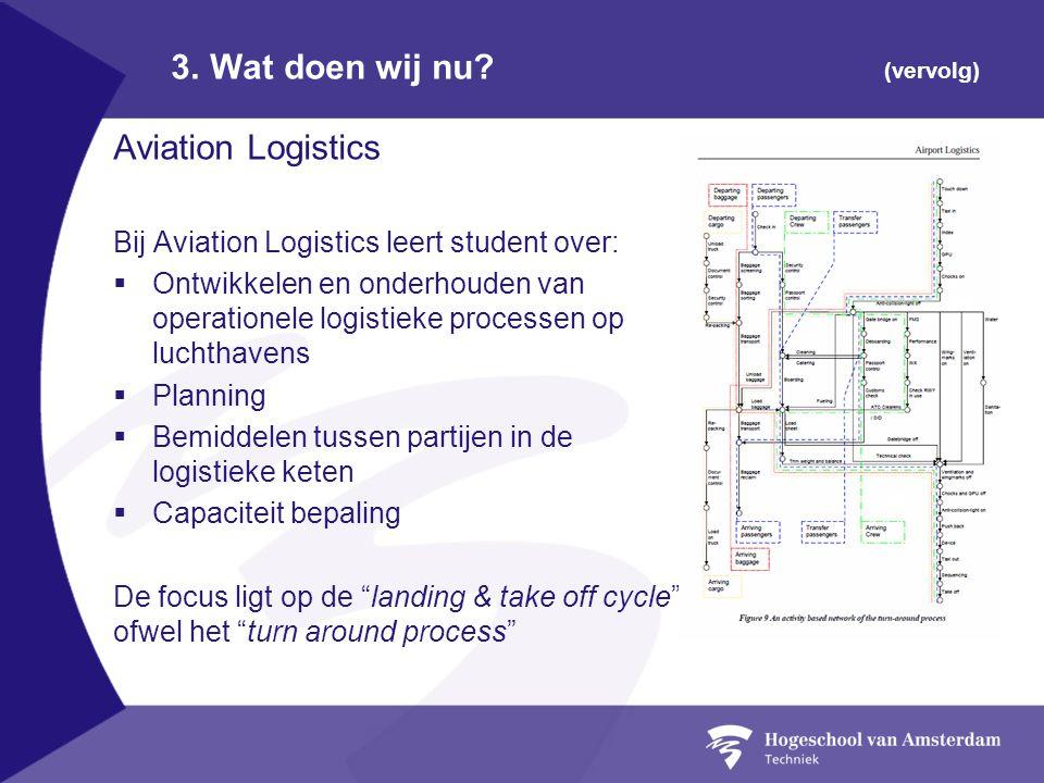 3. Wat doen wij nu? (vervolg) Aviation Logistics Bij Aviation Logistics leert student over:  Ontwikkelen en onderhouden van operationele logistieke p