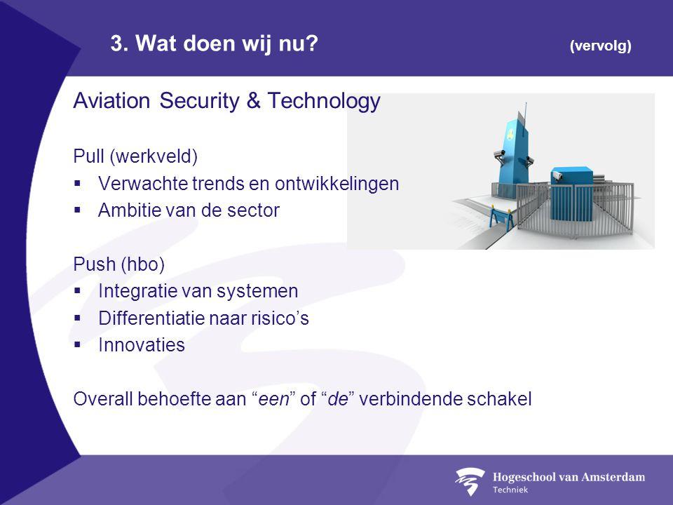 3. Wat doen wij nu? (vervolg) Aviation Security & Technology Pull (werkveld)  Verwachte trends en ontwikkelingen  Ambitie van de sector Push (hbo) 