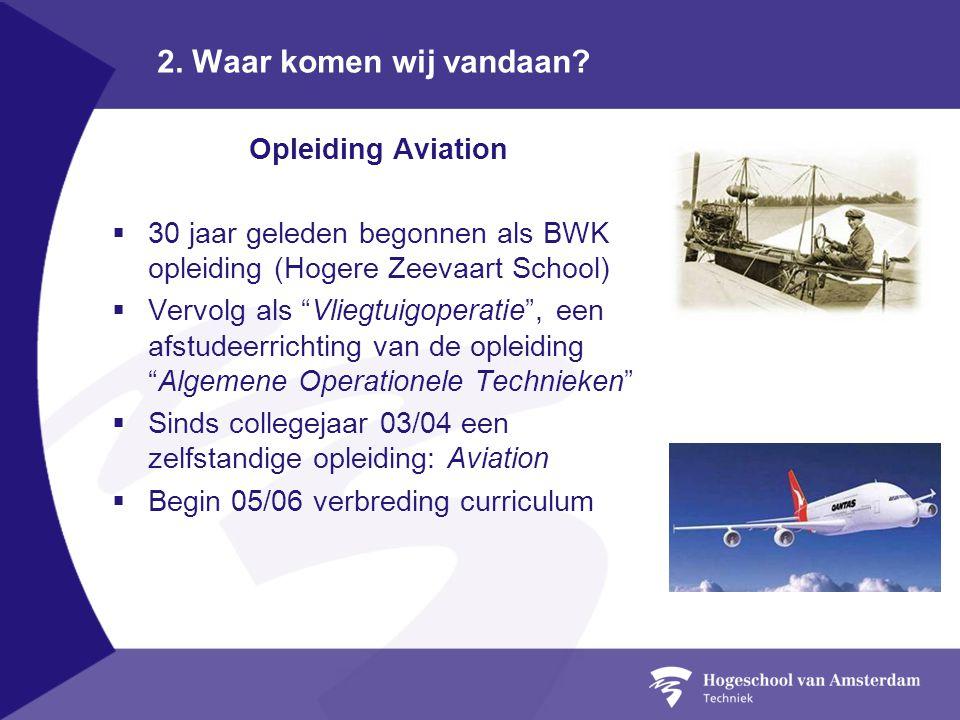 """2. Waar komen wij vandaan? Opleiding Aviation  30 jaar geleden begonnen als BWK opleiding (Hogere Zeevaart School)  Vervolg als """"Vliegtuigoperatie"""","""
